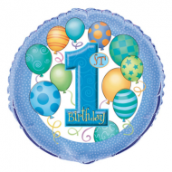 1st Birthday Blue Balloons Foil Balloon