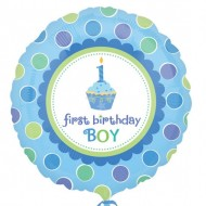 1st Birthday Boy Cupcake Balloon