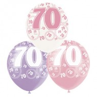 Dazzling Effects Pink 70th Birthday Latex Balloons x6
