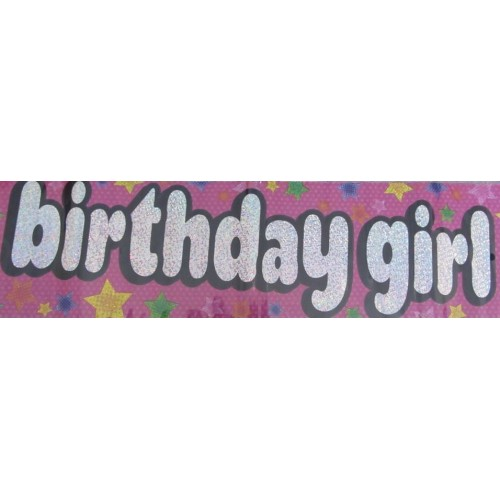 birthday girl pink foil banner birthday girl pink foil banner