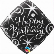 Black Elegant Swirls & Sparkles Happy Birthday Balloon