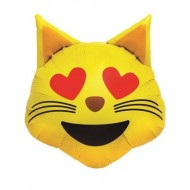 Emoji Heart Eyes Cat Face Balloon
