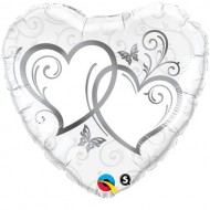 Entwined Hearts Silver Accents Wedding Foil Balloon