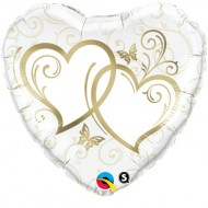 Entwined Hearts Gold Accents Wedding Foil Balloon