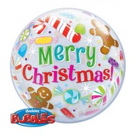 Christmas Candies and Treats Gingerbread Man & Candy Canes Bubble Balloon
