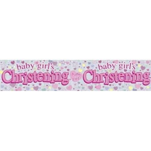 baby girl christening foil banner baby girl christening double