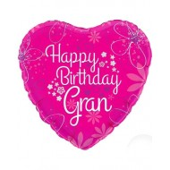 Happy Birthday Gran Pink Heart Balloon