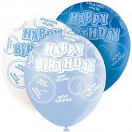 Dazzling Effects Blue Happy Birthday Latex Balloons x6