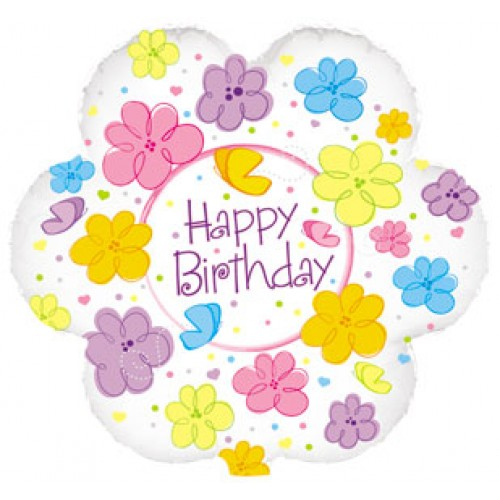 Flowers And Butterflies Happy Birthday Flower Shaped Balloon