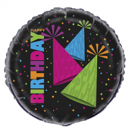 Neon Party Hats Happy Birthday Balloon