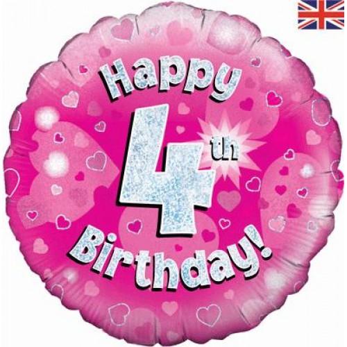 Pink Hearts 4th Birthday Balloon