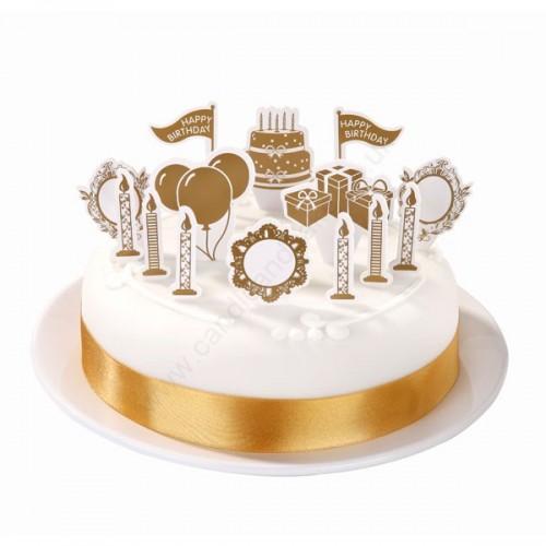 Gold Elegance Happy Birthday Cake Topper Kit