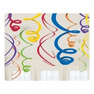 Rainbow Hanging Swirls x12