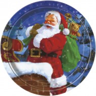 Holiday Santa Claus Christmas Paper Plates