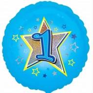 Blue Star Age 1 Birthday Balloon