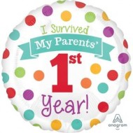 I Survived My Parents' 1st Year 1st Birthday Balloon