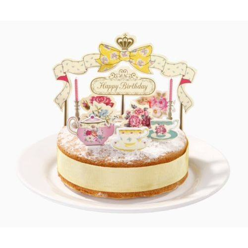 Truly Scrumptious Happy Birthday Afternoon Tea Cake Topper Kit