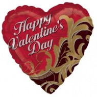 Happy Valentine's Day Gold Damask Balloon