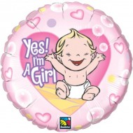 Yes! I'm a Girl! It's A Girl Baby Shower Balloon
