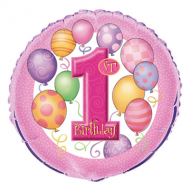 1st Birthday Pink Balloons Foil Balloon