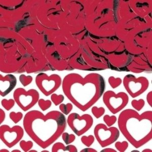 Red Heart Shimmer Table Confetti