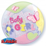 Baby Girl Butterflies & Stitches Bubble Balloon