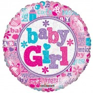Baby Girl Holographic Balloon