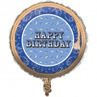 Cowboy Western Party Blue Bandana Happy Birthday Balloon