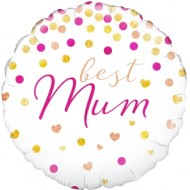 Best Mum Holographic Spotty Balloon