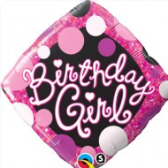 Birthday Girl Pink & Black Diamond Balloon