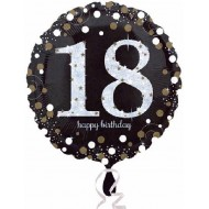 Black & Gold Sparkle 18th Birthday Balloon