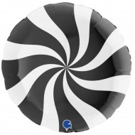 Black & White Candy Swirl Willy Wonka Balloon