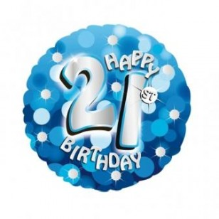Blue Sparkle 21st Birthday Balloon - Blue Sparkle 21st