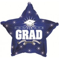 Congrats Grad Graduation Blue Star Balloon