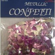 Champagne Glasses Pink & Silver Table Confetti