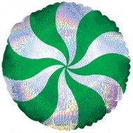 Green Candy Swirl Shimmer Christmas Balloon