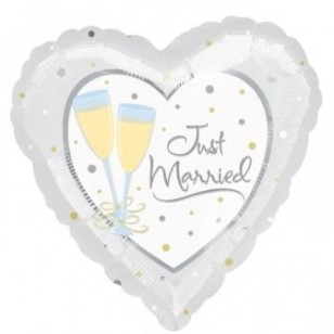 Just Married Champagne Glasses Wedding Balloon