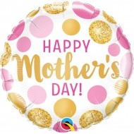 Happy Mother's Day Pink & Gold Spots Balloon