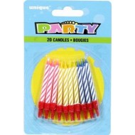 Multi Colour Spiral Candles  (Pack of 20)