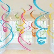 Multi Colour Hanging Swirls x12