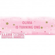 Twinkle Little Star Pink Personalisable Giant Banner