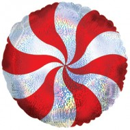 Red Candy Swirl Shimmer Christmas Balloon