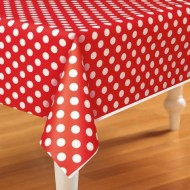 Red Polka Dot Plastic Tablecover