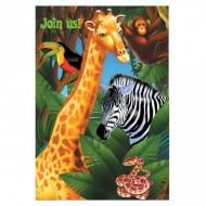 Safari Jungle Birthday Party Invitations