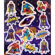 Super Hero Party Favour Stickers x 6