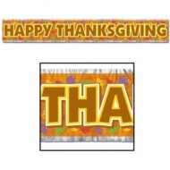Happy Thanksgiving Autumn Leaves Fringed Banner