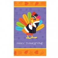 Happy Thanksgiving Fun Turkey Plastic Tablecover