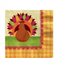 Happy Thanksgiving Pilgrim Turkey Paper Napkin
