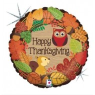 Happy Thanksgiving Woodland Animals Balloon