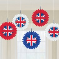 Best of British Union Jack Hanging Fans x5